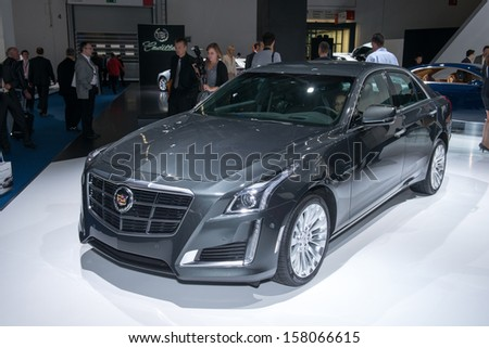 FRANKFURT, GERMANY - SEPTEMBER 11: Frankfurt international motor show (IAA) 2013. Cadillac CTS - world premiere - stock photo