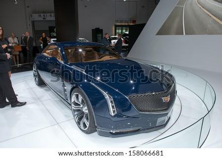 FRANKFURT, GERMANY - SEPTEMBER 11: Frankfurt international motor show (IAA) 2013. Cadillac Elmiraj - European premiere - stock photo
