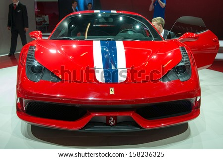 FRANKFURT, GERMANY - SEPTEMBER 11: Frankfurt international motor show (IAA) 2013. Ferrari 458 Speciale - world premiere