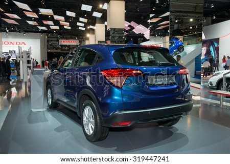 FRANKFURT, GERMANY - SEPTEMBER 16, 2015: Frankfurt international motor show (IAA) 2015. Honda HR-V