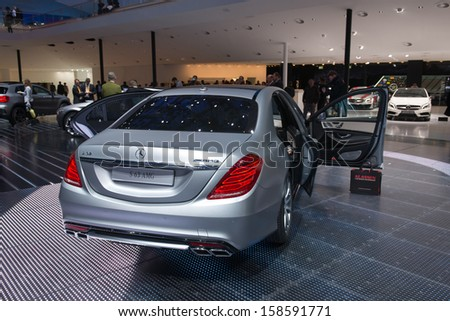 FRANKFURT, GERMANY - SEPTEMBER 11: Frankfurt international motor show (IAA) 2013. Mercedes S 63 AMG New - world premiere