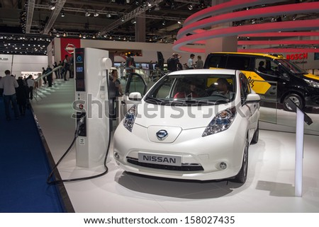 FRANKFURT, GERMANY - SEPTEMBER 11: Frankfurt international motor show (IAA) 2013. Nissan LEAF electrical car - stock photo