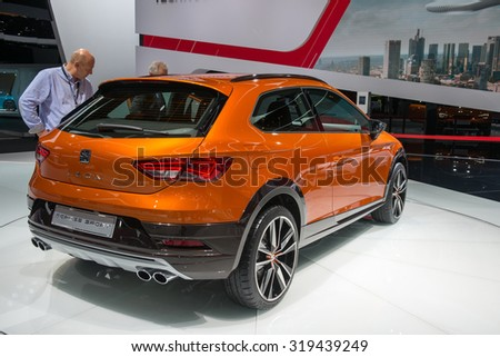FRANKFURT, GERMANY - SEPTEMBER 16, 2015: Frankfurt international motor show (IAA) 2015. SEAT Leon Cross Sport