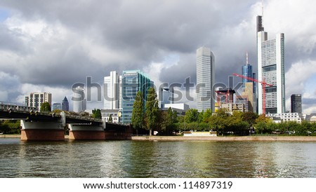 FRANKFURT,GERMANY-SEPTEMBER 26: Frankfurt is the business and financial center of Germany.The city is known for its futuristic skyline. View includes ECBank; September 26,2012 in Frankfurt, Germany
