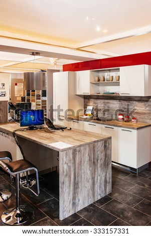FRANKFURT, GERMANY - SEPTEMBER 05, 2014: Modern kitchen at specific furniture fair trade expo ready to meet the visitors - stock photo