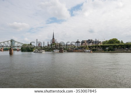 FRANKFURT, GERMANY - September 26, 2015: Panoramic view on Main River