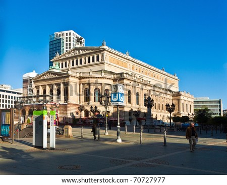 FRANKFURT, GERMANY - SEPTEMBER 10: view to Opernplatz and Opera House of Frankfurt partly under reconstruction early morning on September 10, 2009 Frankfurt, Germany.
