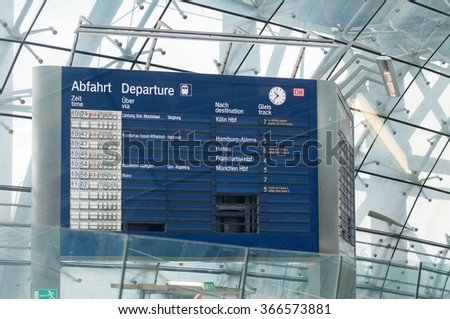 FRANKFURT, GERMANY - SEPTEMBER 14, 2009: Vintage train information boarding board at Frankfurt Airport Train station. Fraport Train station is on of the bussiest train station in Germany - stock photo