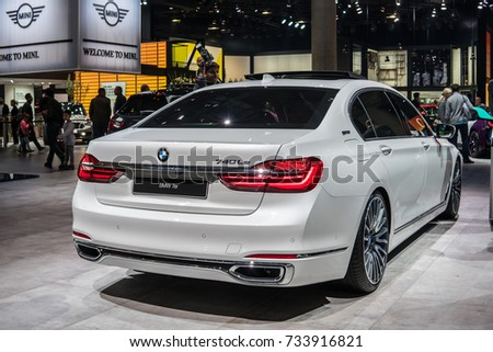 Frankfurt, Germany, September 13, 2017: white BMW 740Le plug-in hybrid at 67th International Motor Show (IAA)