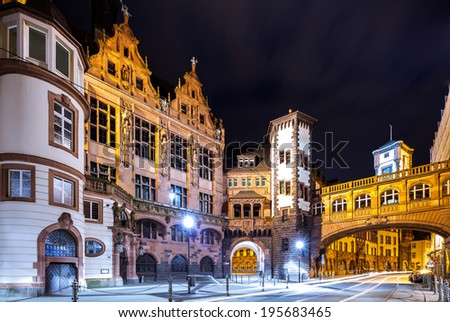 Frankfurt historic city hall in the old town - stock photo