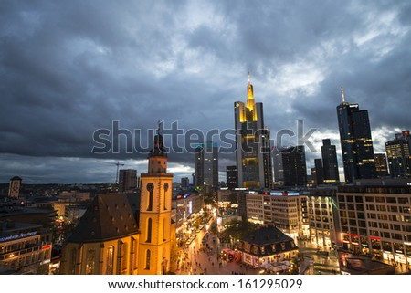 FRANKFURT - NOV 3: Beautiful city buildings on November 3, 2013 in Frankfurt. The  city is visited by more than 4 million tourists every year.