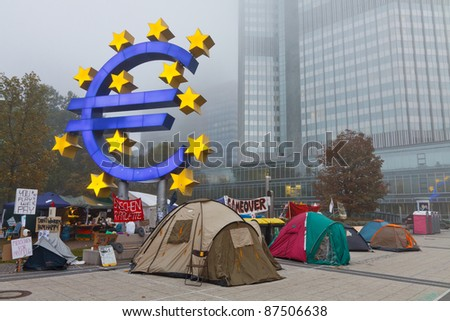 FRANKFURT - OCT 21: The protest camp of the Occupy Frankfurt movement at the European Central Bank in Frankfurt, Germany, on October 21, 2011. It is part of the global Occupy Wall Street movement. - stock photo