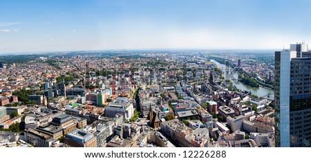 Frankfurt-on-Main view from skyscraper roof - stock photo