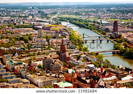Frankfurt on the Main from bird's eye view - stock photo