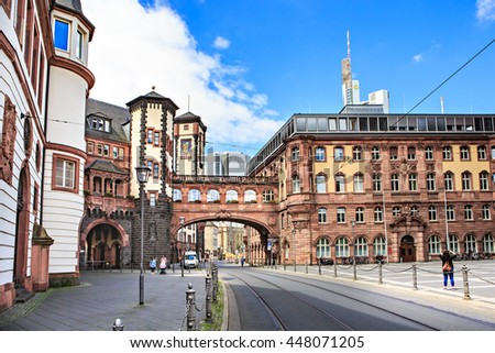FRANKFURT ON THE MAIN, GERMANY - CIRCA JUNE, 2016: The Paulsplatz or St Pauls Square in the old town of Frankfurt on the Main, Germany - stock photo