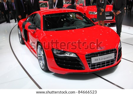 FRANKFURT - SEP 14: Audi R8 5.2 quattro shown at the 64th IAA (Internationale Automobil Ausstellung) on September 14, 2011 in Frankfurt, Germany.