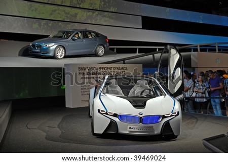 FRANKFURT - SEP 20: BMW Concept Car Vision Efficient Dynamics on 63rd IAA (Internationale Automobil Ausstellung) on September 20, 2009 in Frankfurt, Germany.