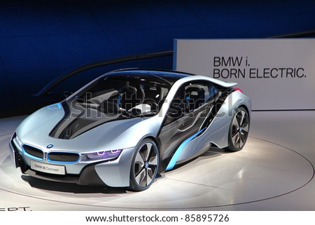 FRANKFURT - SEP 14: BMW electronic Concept Car i8 shown at the 64th IAA (Internationale Automobil Ausstellung) on September 14, 2011 in Frankfurt, Germany.
