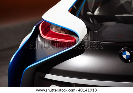 FRANKFURT - SEP 15: Details of the backside of BMW Concept Car Vision Efficient Dynamics on 63rd IAA (Internationale Automobil Ausstellung) on September 15, 2009 in Frankfurt, Germany.