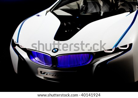 FRANKFURT - SEP 15: Details of the backside of BMW Concept Car Vision Efficient Dynamics on 63rd IAA (Internationale Automobil Ausstellung) on September 15, 2009 in Frankfurt, Germany. - stock photo