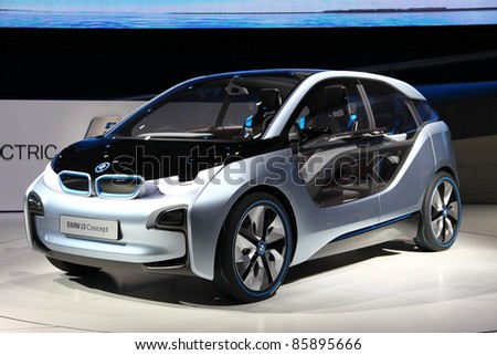 FRANKFURT - SEP 14: Electronic Vehicle BMW i3 Concept shown at the 64th IAA (Internationale Automobil Ausstellung) on September 14, 2011 in Frankfurt, Germany.