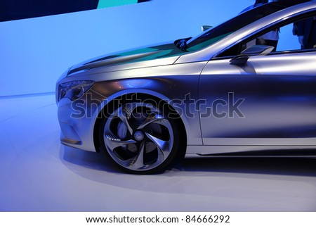 FRANKFURT - SEP 14: Front part of Mercedes Benz A-Klasse (A-Class) Concept Car shown at the 64th IAA (Internationale Automobil Ausstellung) on September 14, 2011 in Frankfurt, Germany.