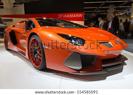 FRANKFURT - SEP 13: Hamann Nervudo Lamborghini at the IAA motor show on Sep 13, 2013 in Frankfurt. More than 1.000 exhibitors from 35 countries are present at the world's largest motor show. - stock photo