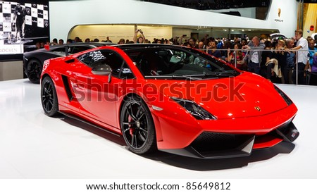 FRANKFURT - SEP 24: Lamborghini Gallardo LP 570-4 Super Trofeo Strudale shown at the 64th IAA Motor Show (Internationale Automobil-Ausstellung) in Frankfurt, Germany, on September 24, 2011.