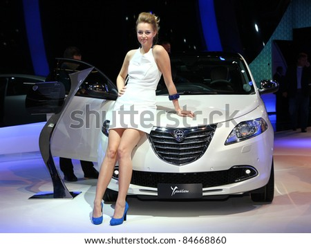 FRANKFURT - SEP 14: Lancia Ypsilon shown at the 64th IAA (Internationale Automobil Ausstellung) on September 14, 2011 in Frankfurt, Germany.