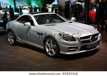 FRANKFURT - SEP 13: Mercedes Benz SLK-Class Cabrio presented at the 64th IAA (Internationale Automobil Ausstellung) on September 13, 2011 in Frankfurt, Germany