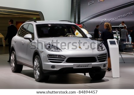 FRANKFURT - SEP 17: Porche Diesel shown at the 64th Internationale Automobil Ausstellung (IAA) on September 17, 2011 in Frankfurt, Germany.