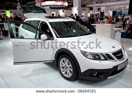 FRANKFURT - SEP 20: SAAB on 63rd IAA (Internationale Automobil Ausstellung) on September 20, 2009 in Frankfurt, Germany. - stock photo