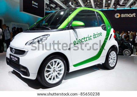 FRANKFURT - SEP 24: Smart electric car shown at the 64th IAA Motor Show (Internationale Automobil-Ausstellung) in Frankfurt, Germany, on September 24, 2011. - stock photo
