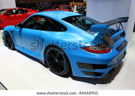 FRANKFURT - SEP 14: TechArt Porsche GT Street RS shown at the 64th IAA (Internationale Automobil Ausstellung) on September 14, 2011 in Frankfurt, Germany.