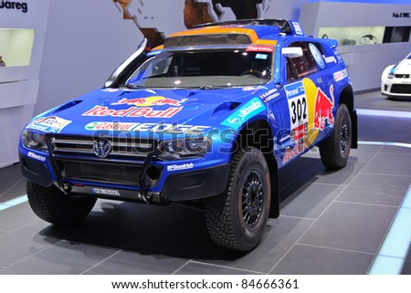 FRANKFURT - SEP 14: Volkswagen Motorsports Race Touareg shown at the 64th IAA (Internationale Automobil Ausstellung) on September 14, 2011 in Frankfurt, Germany.