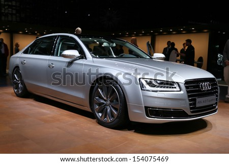 FRANKFURT - SEPT 10: Audi A8 ABL 4.0 T quattro shown at the 65th IAA (Internationale Automobil Ausstellung) on September 10, 2013 in Frankfurt, Germany. - stock photo