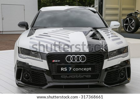 FRANKFURT - SEPT 15: Audi RS 7 concept piloted driving shown at the 66th IAA (Internationale Automobil Ausstellung) on September 15, 2015 in Frankfurt, Germany. - stock photo