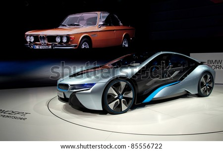FRANKFURT - SEPT 25:  BMW Concept car i8 shown at the 64th Internationale Automobil Ausstellung (IAA) on September 25, 2011 in Frankfurt, Germany.