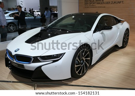 FRANKFURT - SEPT 10: BMW i8  plug-in hybrid sports car shown at the 65th IAA (Internationale Automobil Ausstellung) on September 10, 2013 in Frankfurt, Germany. - stock photo