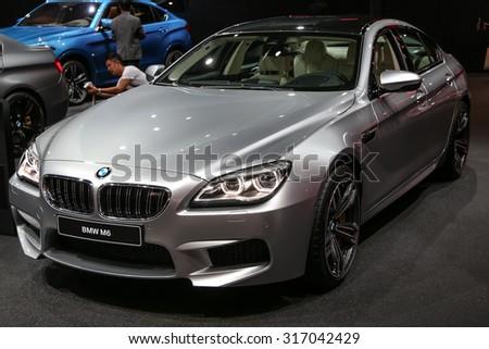 FRANKFURT - SEPT 15: BMW M6 shown at the 66th IAA (Internationale Automobil Ausstellung) on September 15, 2015 in Frankfurt, Germany. - stock photo