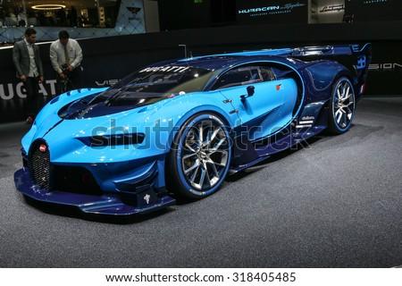 FRANKFURT - SEPT 15: Bugatti den Vision Gran Turismo shown at the 66th IAA (Internationale Automobil Ausstellung) on September 15, 2015 in Frankfurt, Germany. - stock photo
