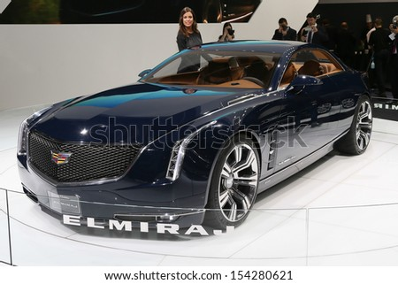 FRANKFURT - SEPT 10: Cadillac Elmiraj Concept shown at the 65th IAA (Internationale Automobil Ausstellung) on September 10, 2013 in Frankfurt, Germany. - stock photo