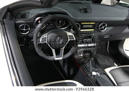 FRANKFURT - SEPT 13: Cockpit of Mercedes Benz SLK 55 AMG Roadster shown at the 64th IAA (Internationale Automobil Ausstellung) on September 13, 2011 in Frankfurt, Germany.