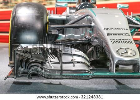 FRANKFURT - SEPT 16: Details of Mercedes AMG Petronas Formula 1 W06 shown at the 66th IAA (Internationale Automobil Ausstellung) on September 16, 2015 in Frankfurt, Germany. - stock photo