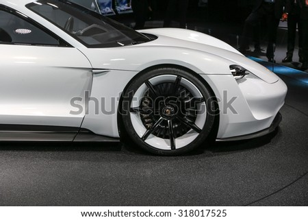 FRANKFURT - SEPT 16: Details of Porsche Mission E Concept World Premiere shown at the 66th IAA (Internationale Automobil Ausstellung) on September 16, 2015 in Frankfurt, Germany. - stock photo