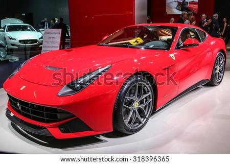 FRANKFURT - SEPT 16: Ferrari F12 berlinetta shown at the 66th IAA (Internationale Automobil Ausstellung) on September 16, 2015 in Frankfurt, Germany. - stock photo