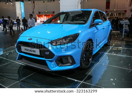 FRANKFURT - SEPT 15: Ford Focus RS shown at the 66th IAA (Internationale Automobil Ausstellung) on September 15, 2015 in Frankfurt, Germany. - stock photo