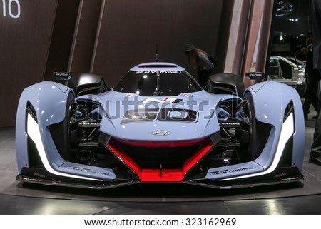 FRANKFURT - SEPT 15: Hyundai N 2025 Vision Gran Turismo shown at the 66th IAA (Internationale Automobil Ausstellung) on September 15, 2015 in Frankfurt, Germany.