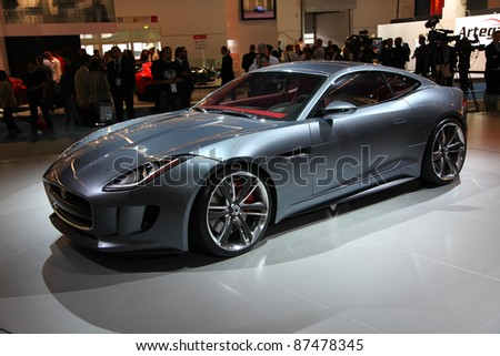 FRANKFURT - SEPT 14: Jaguar Concept Car C-X 6 roadster shown at the 64th IAA (Internationale Automobil Ausstellung) on September 14, 2011 in Frankfurt, Germany.