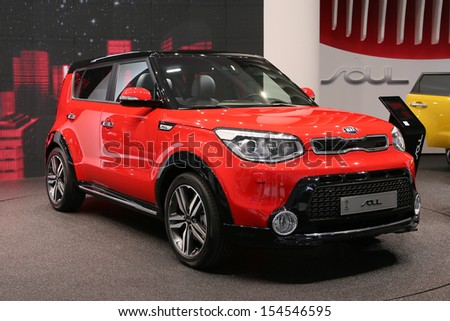 FRANKFURT - SEPT 10: Kia Soul shown at the 65th IAA (Internationale Automobil Ausstellung) on September 10, 2013 in Frankfurt, Germany. - stock photo